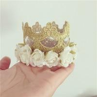 새로운 꽃 로즈 골드 크라운 머리 벨트 생일 머리 장식 헤어 액세서리 제조 업체 도매
