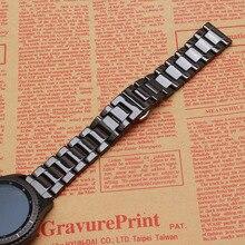 2017 Promotion Nouvelle Bande de Montre En Céramique montre Bracelet pour Samsung Gear S3 Frontière Argent Butterfly Boucle bracelets poli Noir