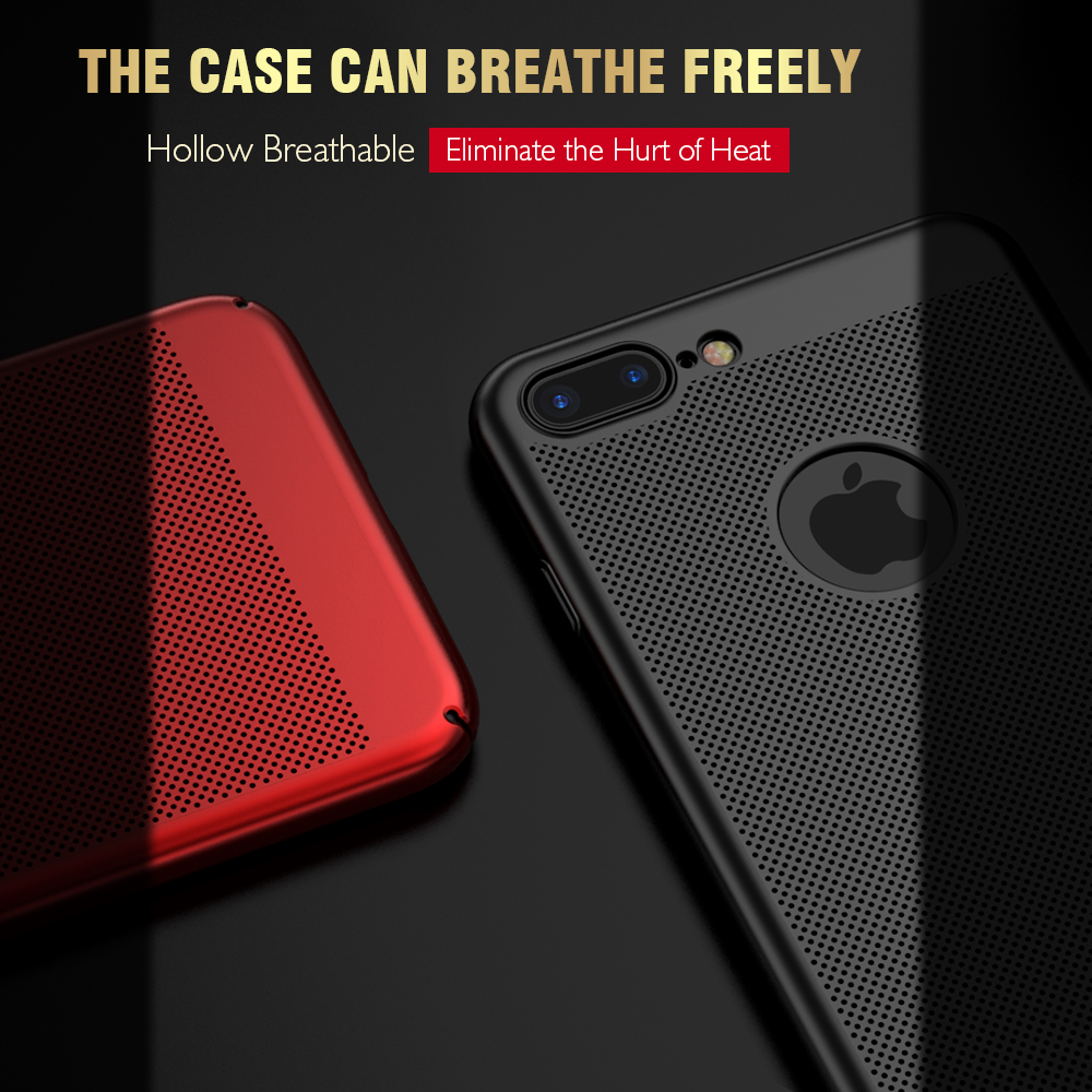 FLOVEME Luxury Phone Cases For IPhone 5 5s SE,Black / Red Matte Mobile Phone Bag Cases For IPhone 7 6 6s Plus X Cover+Logo Hole