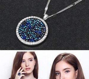 Image 4 - Cdyle Moda Jóia Set Azul Gem Mulheres Colar Pulseira Anel Define Bijoux Embelezado com cristais Redondos