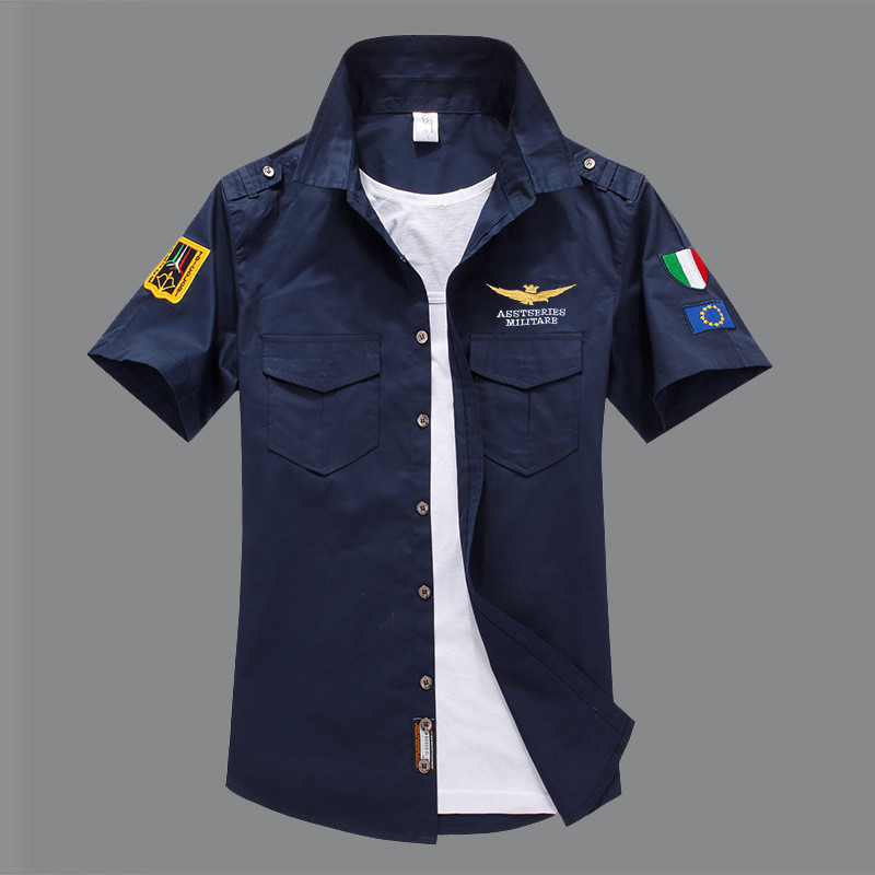 military <font><b>men's</b></font> <font><b>shirt</b></font> short sleeve <font><b>shirt</b></font> clothes casual Slim fit fashion white off white pilot <font><b>shirt</b></font> cotton camisas hombre <font><b>6XL</b></font> image