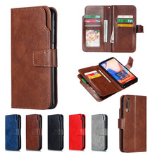 Leather Case For Samsung Galaxy A7 2018 Flip Case Card Wallet Cover Magnet Business Phone Case