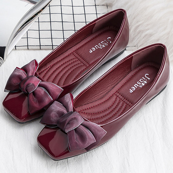 Flat shoes women fashion butterfly-knot square toe party leather ballet flats big size 4.5-9 shallow ladies flat shoes 1