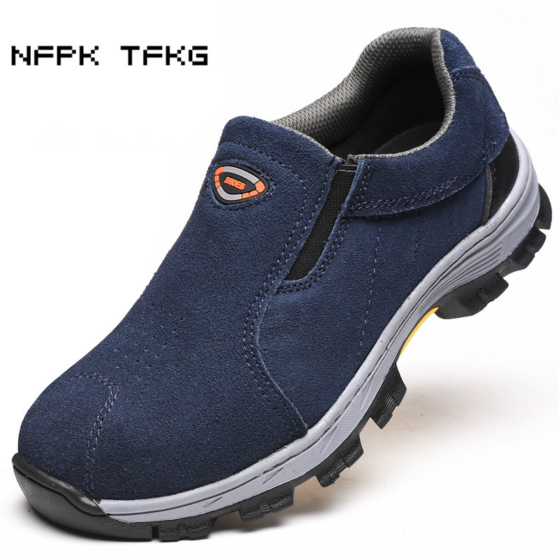 high quality mens plus size comfortable steel toe cover work safety shoes velvet leather shoes plate platform site boots protect