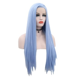 Image 2 - שמחה ויופי 12 inch 28 inch משיי ישר סינטטי תחרה מול פאות שמיים כחול ארוך חום סיבים עמידים שיער משלוח חלק פאות נשים