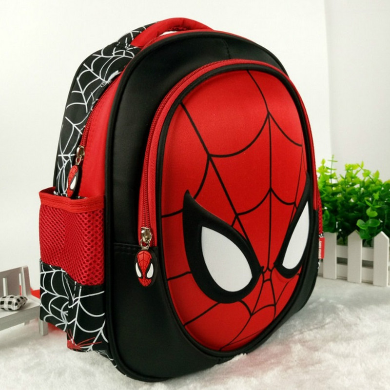 Ny Cool 3D Spiderman Cartoon Schoolbag Högkvalitativ Kids Student 13 tums Ryggsäck Barnsegard Boy Bag Gratis frakt