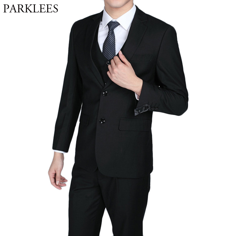 2018 Fashion Slim Fit Black Men Suits Blazer with Pants Wedding Party Prom Tuxedos Casual Work Wear Suit 2 Piece (Jacket+Pants)