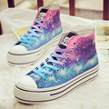 Free shipping women Casual shoes Harajuku tie-dyeing lilac gradient universal platform high flatcanvas women's hand-painted