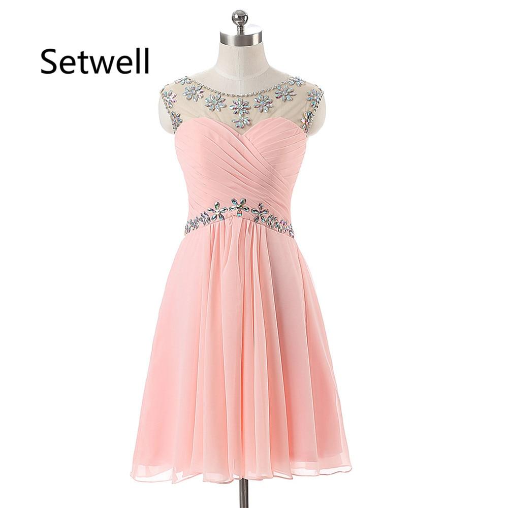 Setwell Sexy Illusion décolleté dos nu robes de bal rose été en mousseline de soie robe de bal Sequin perles robes de soirée courtes 2017