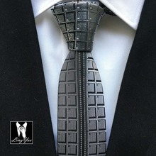 2014 designers Skinny tie black character novelty gravata high quality woven necktie for gentlemen