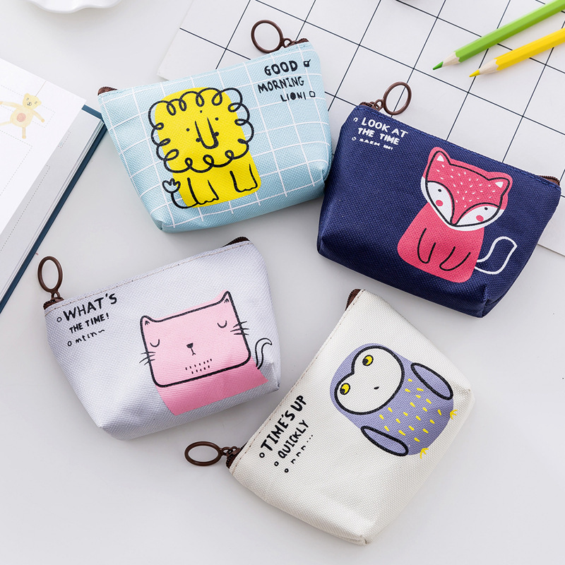 Zipper Stationery Bag, Cartoon Owl/fox/cat Pattern Stationery Storage Bag, Can Store Cards, Erasers, Coins, Etc.