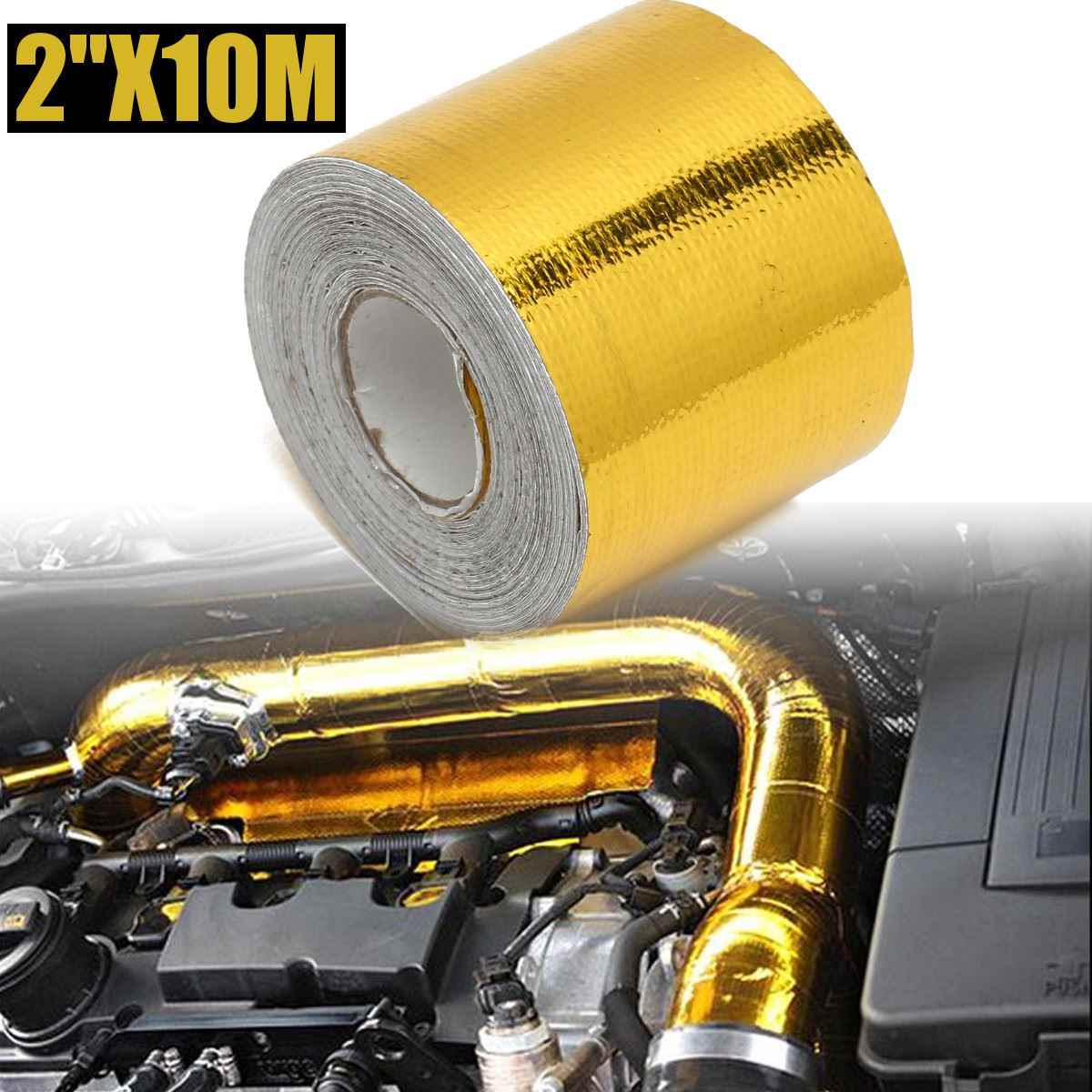 4.5m/5m/10m Car Fiberglass Self Adhesive Gold High Temperature Heat Shield Wrap Tape