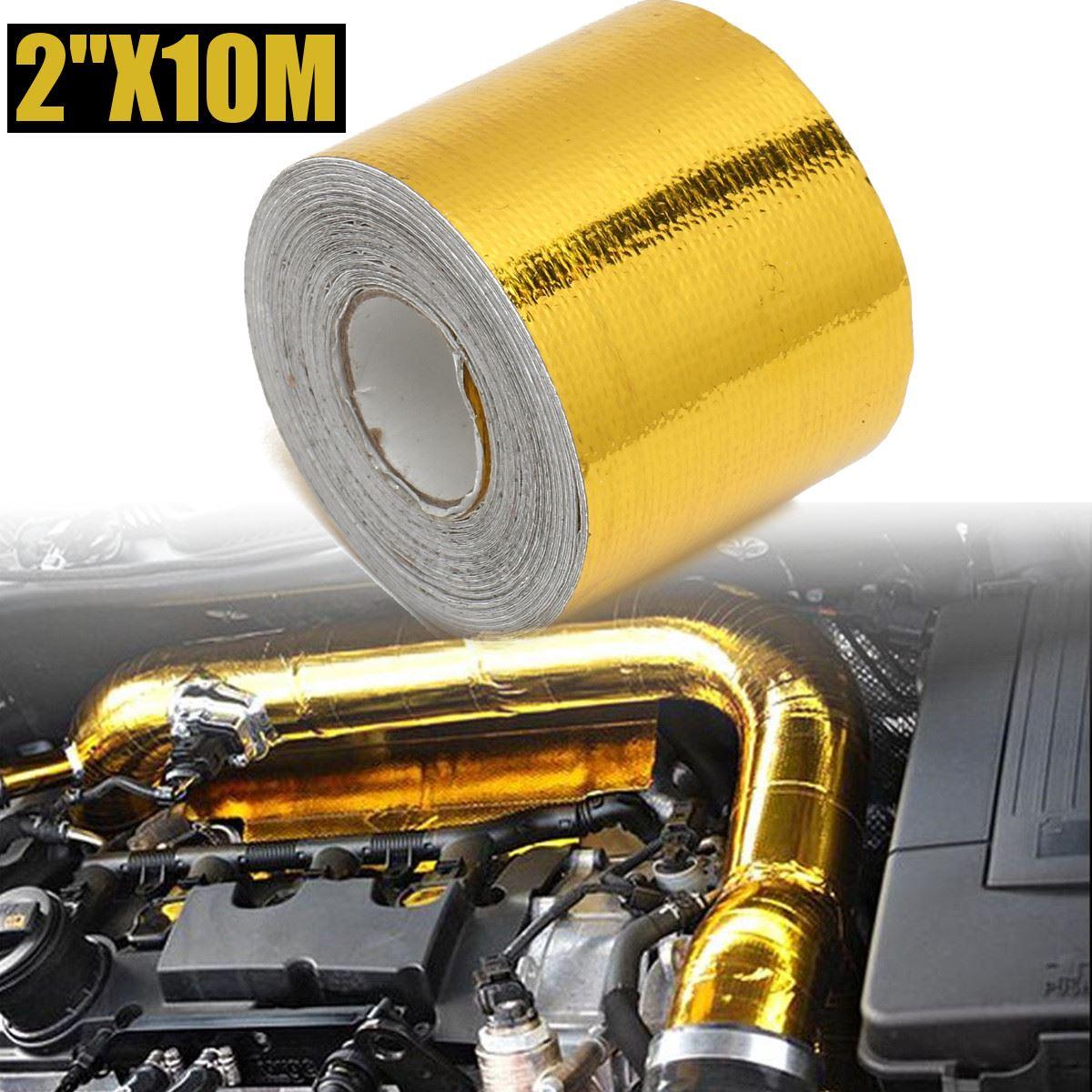 4.5m/5m/10m Car Fiberglass Self Adhesive Gold High Temperature Heat Shield Wrap Tape