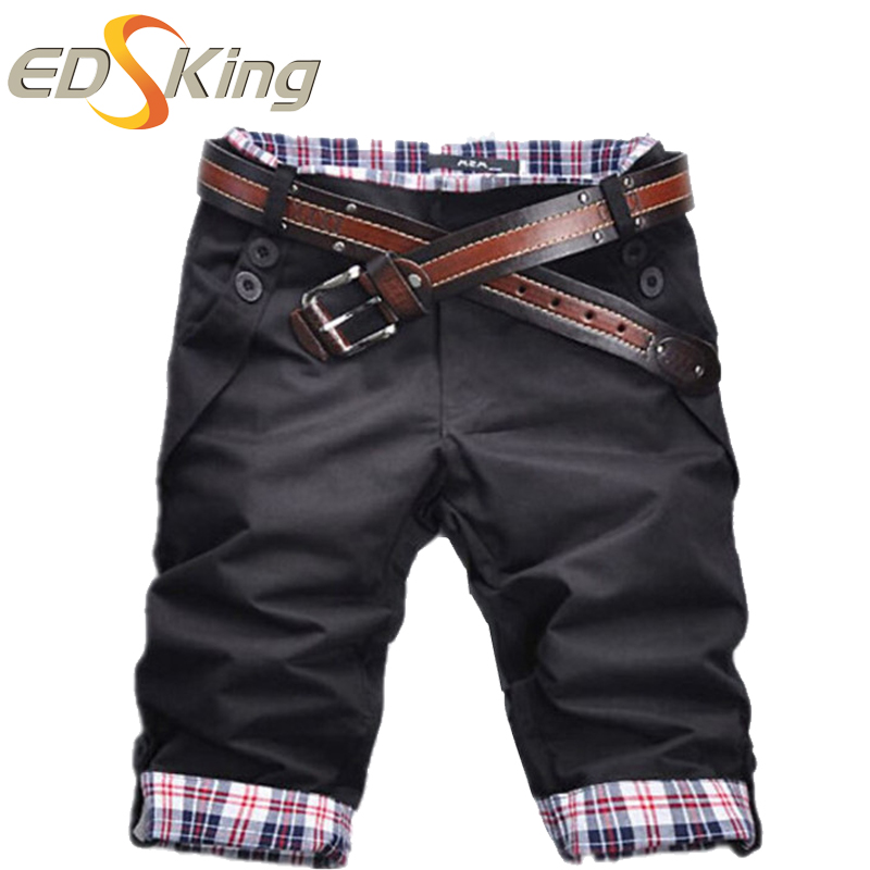 4b7a5f48360d Pantalones Cortos para hombre Casual Plaid Vestido de Carga Bermudas ...