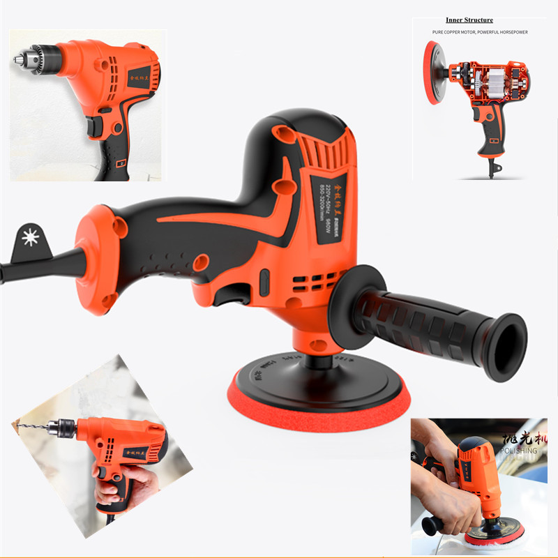 Car polishing and waxing machine hand electric drill pistol drill machine household gloss seal for car