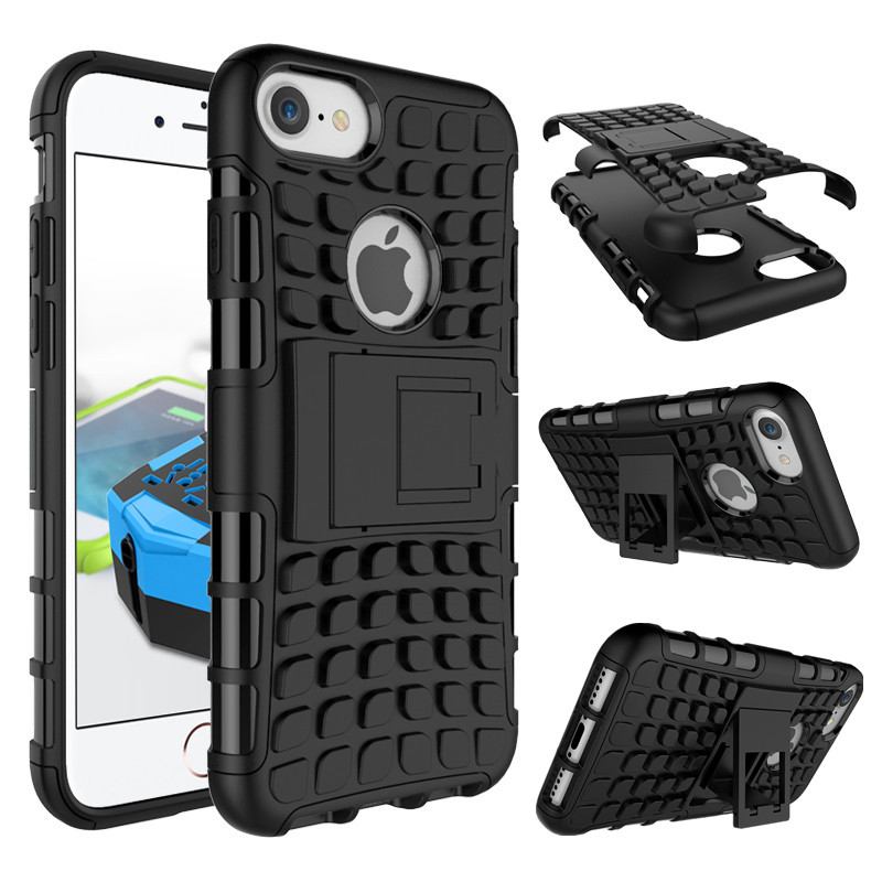 TPU+Plastic 2 in 1 Hybird Armor Phone Case for iPhone 7/7 Plus Shockproof Back Shell Cover with Stand Case for iPhone 7 Plus