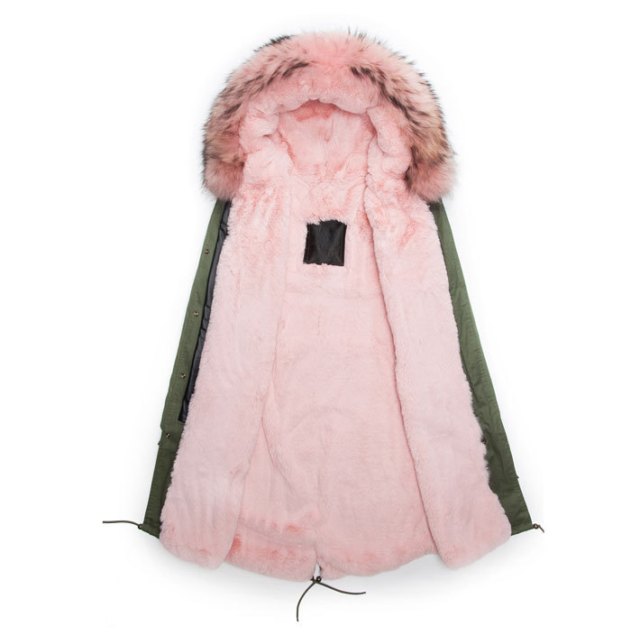 Pink lined Winter Faux Fur Parka Male Coats Long Style  Male Outwear Army Green coat Winter Parkas for Man Hooded faux suede fleece lined winter coat