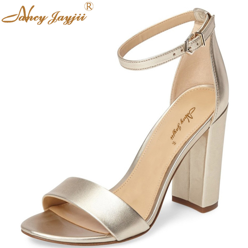 Silver Patent Gold Chunky High Heels Ladies Shoes Summer Sandals Open Toe Ankle Strap Fashion Roman Women Shoes Nancyjayjii new ankle strap open toe high heels sexy ladies shoe women summer gold silver black sequins leather sexy sandals shoes smybk 022