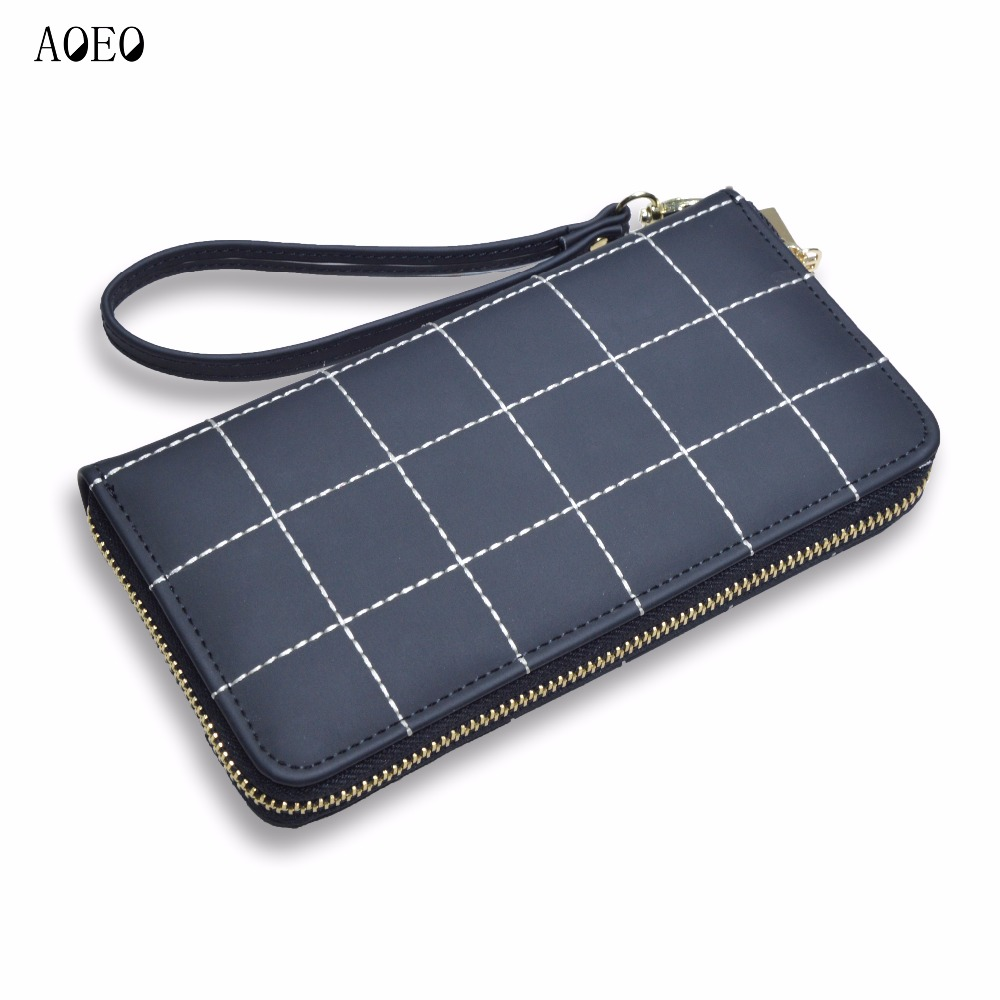 AOEO Plaid Ladies Wallet For Phone With Coin Purses Holders Wristlet Large Capacity Womens Purses And Wallets Girls Female Purse 2017 new ladies purses in europe and america long wallet female cards holders cartoon cat pu wallet coin purses girl