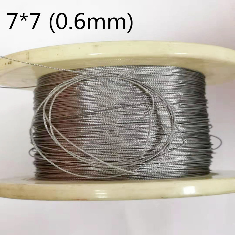50M 0.6mm 304 Stainless Steel Wire Rope Cable Softer Fishing Lifting Cable 7X7 Structure