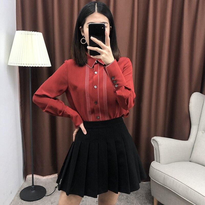 Couleur Lady Tops Turn 2019 Collier Mode Designer Bloc Blue Office De La Couture red Shirt Printemps Été Soie down Blouse Chemisier 6Bv6qrnP