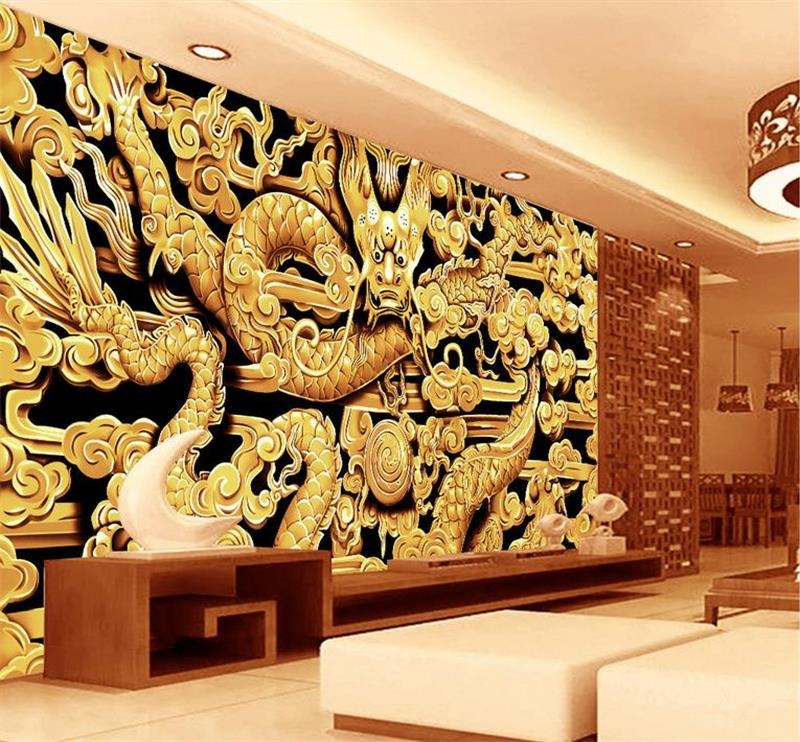 Home Improvement 3d Wallpaper Custom Photo Mural Non-woven Wall Sticker China Color Carving Dragon Sofa Tv Background Wall Wallpaper For Wall 3d Fixing Prices According To Quality Of Products