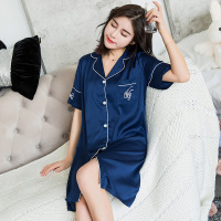 Lady Blue Silk Cozy Nightgowns Sleepwear Children Style Girl Nightdress Flowers Night Dress Home Wear