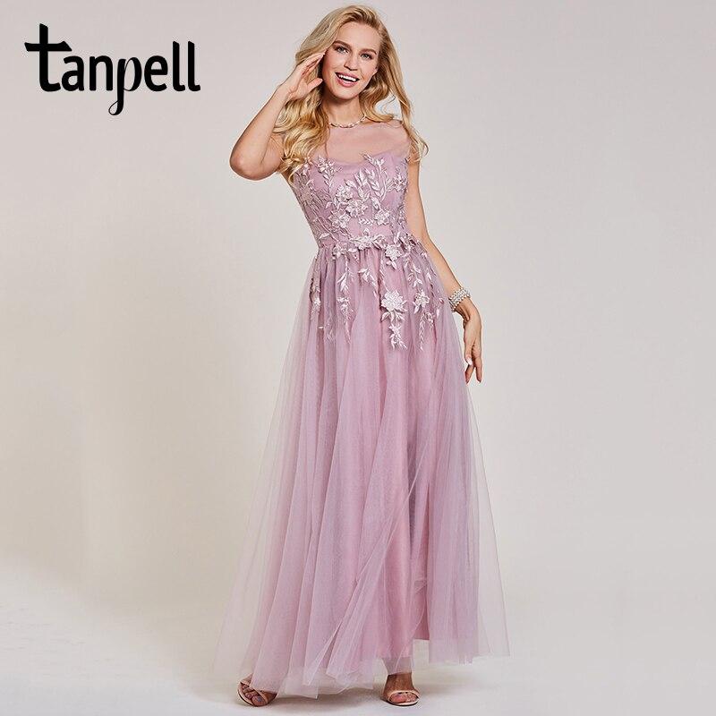 Tanpell longue robe de bal rose bateau cou cap manches longueur de plancher une ligne robes pas cher femmes appliques soirée formelle robe de bal