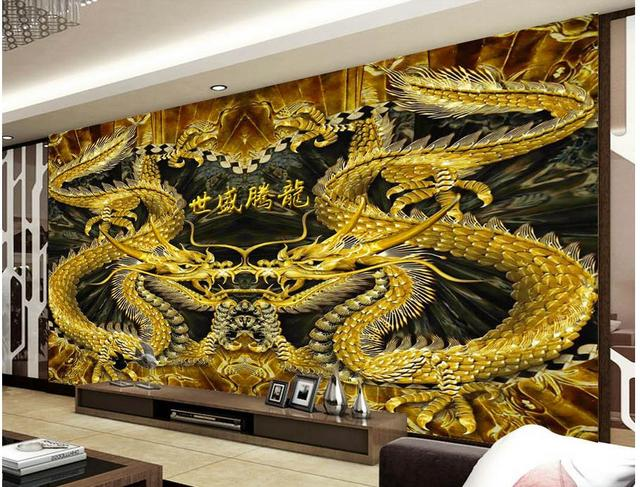 customized wallpaper for walls Home Decoration Color carving Relief 3d Dimensional Wood carving Dragon mural Background wall-in Wallpapers from Home ...
