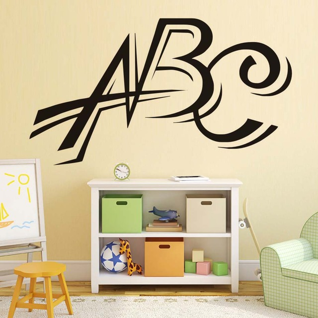 Vinyl Abc Wall Stickers Letters Decal Nursery Decorative Waterproof Art Decals Removable Home Decor