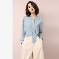 Natural Silk Blouse Shirt Blusas Women Office Lady 100 Really Silk Large Oversize Bow Tie Shirts