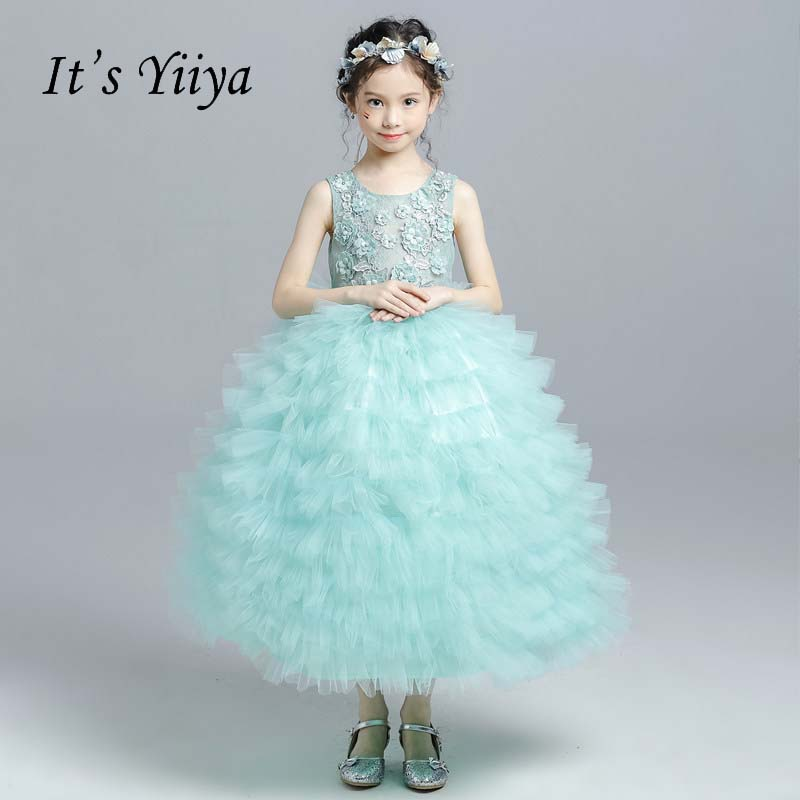 It's yiiya New O-neck Zipper Beading Pearls Tiered Quality Child Cloth Kid   Flower     Girl     Dresses   For Party Wedding   Girl     Dress   S041
