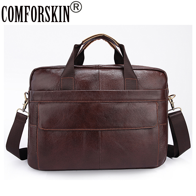 100% Luxurious Cow Leather Business Briefcase for Men 2017 New Arrivals Messenger Bags with Soft Handle Computer Laptop Bag