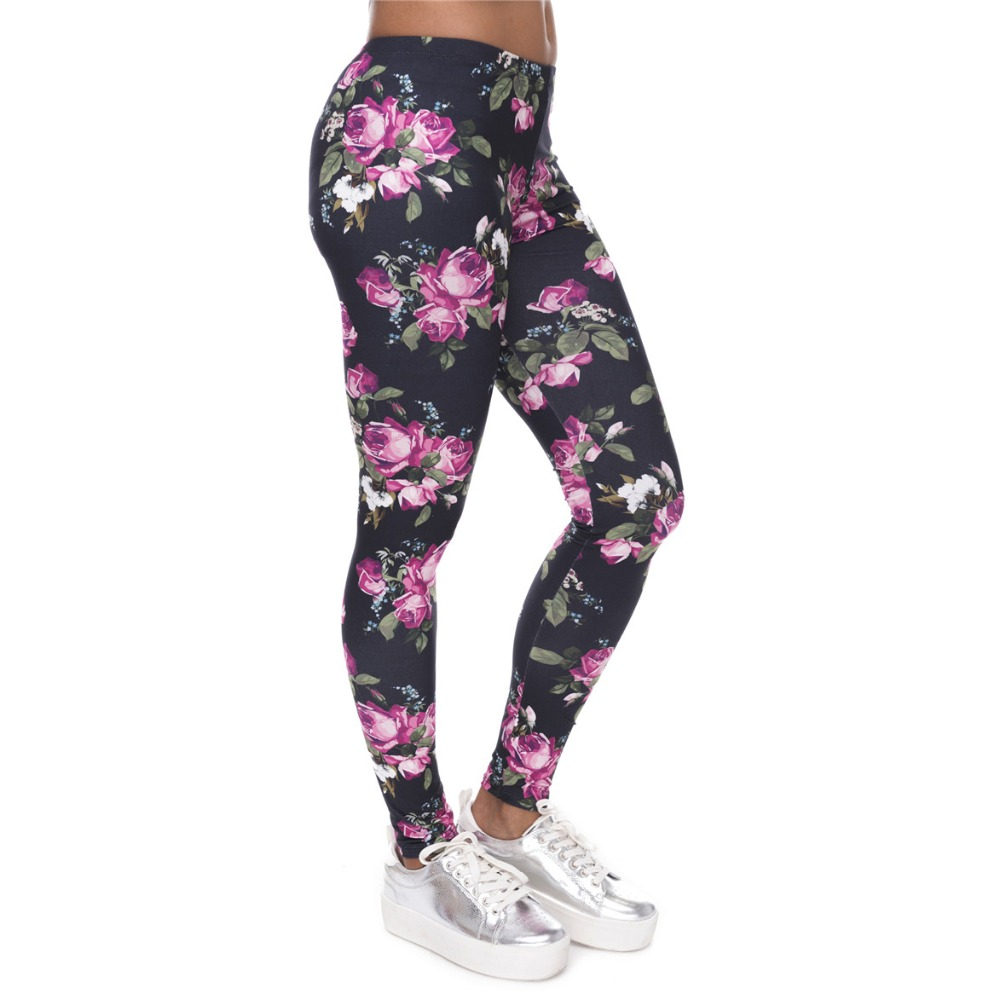 New Women Leggings Retro Roses Printing Fitness legging Elegant Sexy Elasticity Leggins High Waist Legins Trouser
