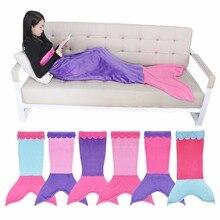 Schöne Weiche Warme Flanell Meerjungfrau Schwanz Decke Schlafsäcke Komfortablen Kinder Patchwork Mädchen Jungen Nette Cocoon Kostüm