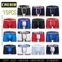 15pcs/lot Hot Male Underwear Sexy Men Boxer Men's Underpants For Man Panties Comfortable Breathable Cuecas Homme Mens Boxershort