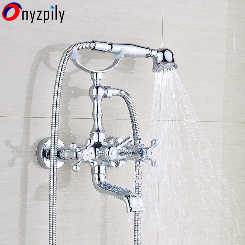 Brass Wall Mount Chrome Bathroom Tub Faucet Hand Shower Hot &Cold Water Mix Tap chrome polish wall mount bathroom sink tub faucet hot and cold water mixer tap