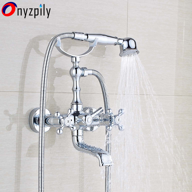 Brass Wall Mount Chrome Bathroom Tub Faucet Hand Shower Hot Cold