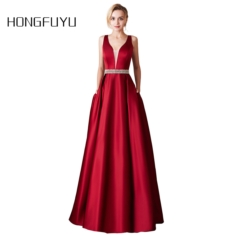 Elegant   Prom     Dresses   2019 Sexy V Neck Backless Satin Formal Evening   Dress   Party Gown Luxury Beaded A Line Long   Prom     Dress