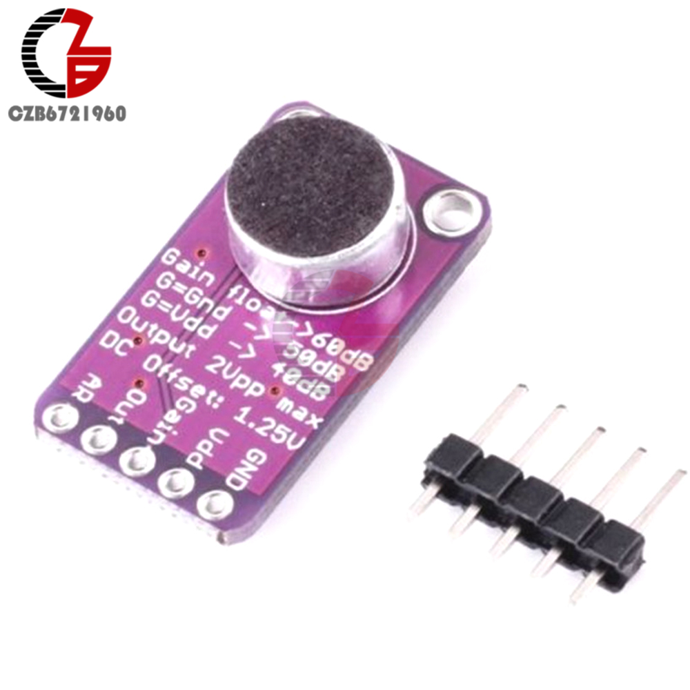 цена на MAX9814 Microphone Amplifier Board Module Auto Gain Max 40dB/50dB/60dB Frequency 20Hz - 20 KHz 2.7V-5.5V With Pins for Arduino