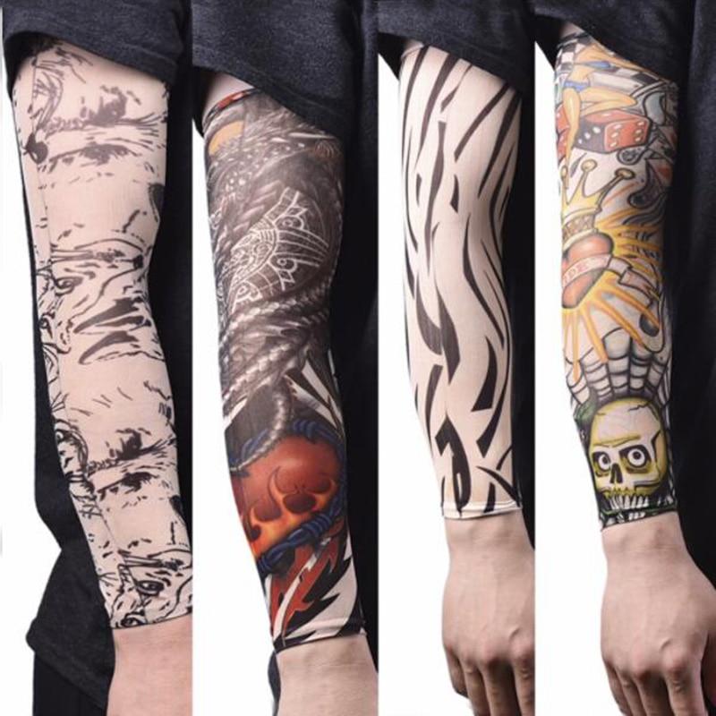 Aquecedores De Braço Tatuagem Mangas De Seda Gelo De Verão