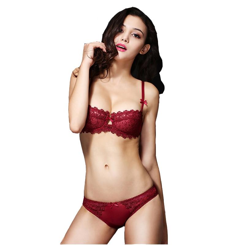Sexy Mousse Women Sex Bra Brief Կոմպլեկտներ Գինու կարմիր ժանյակավոր կրծկալ Համբուրիր մինչև 1/2 գավաթ Unlin underwire կրծկալ կրպակ