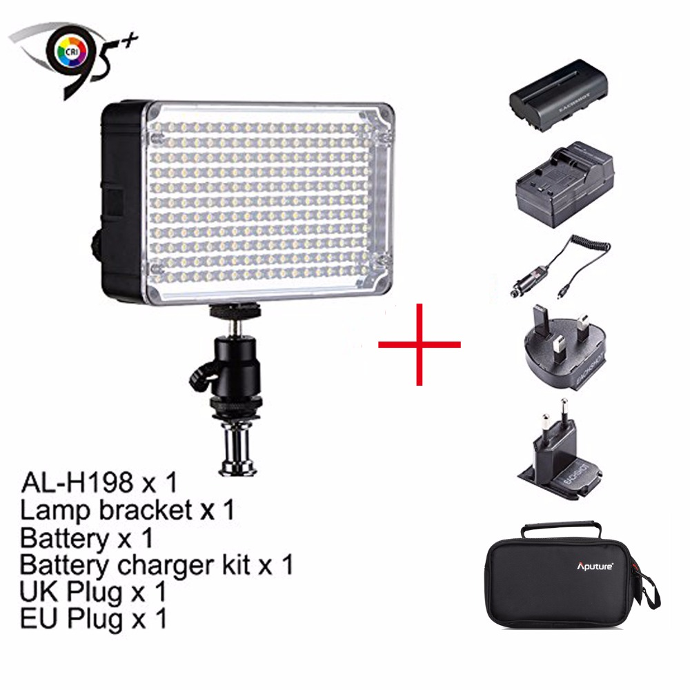 Aputure Amaran AL-H198 CRI95+ 5500K Camera LED Video Light Kit for Sony Cameras,LED Light+Hot Shoe Mount+Bag+Battery+Charger