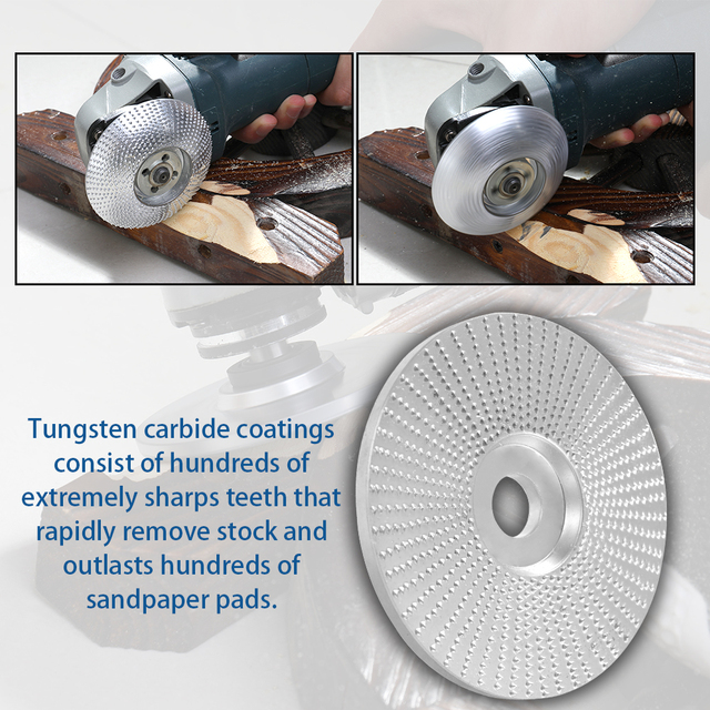 4 Inch Wood Angle Grinding Wheel Sanding Carving Rotary Tool Abrasive Disc For Angle Grinder Tungsten Carbide Coating 5/8 Bore 1