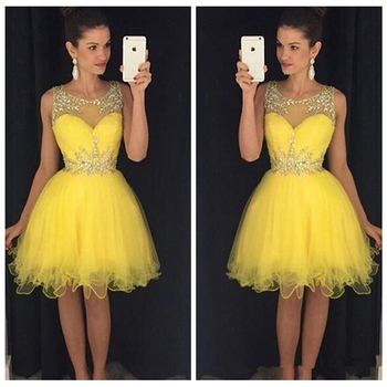 Yellow Tulle Short Mini Bridesmaids Dresses Beaded Crystal Rhinestone Formal Homecoming Prom Party Gowns For Girls 2019 Vestidos