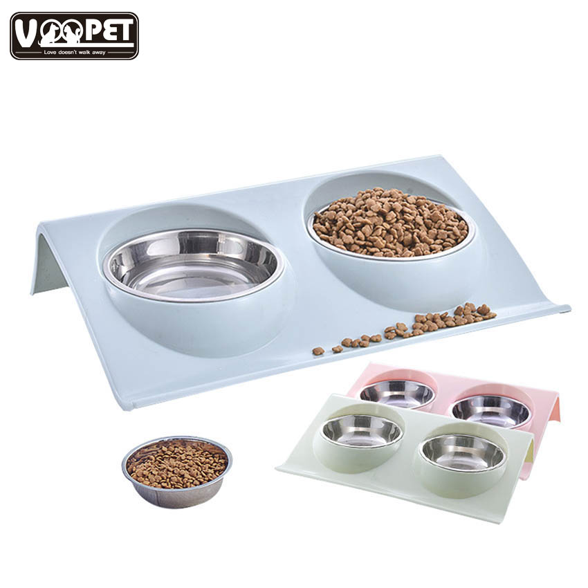Dog Feeder Bowls 2 in 1 Stainless Steel Dog Cats Bowls Anti-splash Pets Feeding Drinking Water Fountain Pet Dog Cat Food Feeder