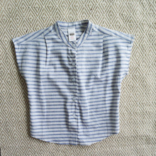 Summer Boys Cotton Linen Stand Collar Sleeve Striped Shirts