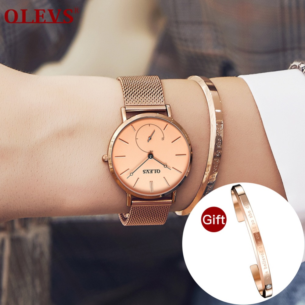 OLEVS Luxury Fashion Women Watches Rose gold Mesh belt Dress Black dial Ladies Watch Quartz D Wrist Watches W Gift Dropshipping luxury pear shell dial ladies watches fashion green quartz women watch rose gold milan mesh belt waterproof watch reloj mujer