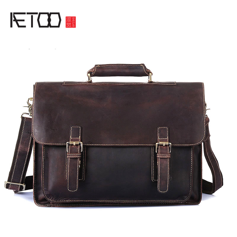 AETOO Europe and the United States selling the first layer of leather men's bag frenzy handbag shoulder oblique cross briefcase europe and the united states simple geometric pattern hand bag head layer of leather in the long wallet multi card large capacit