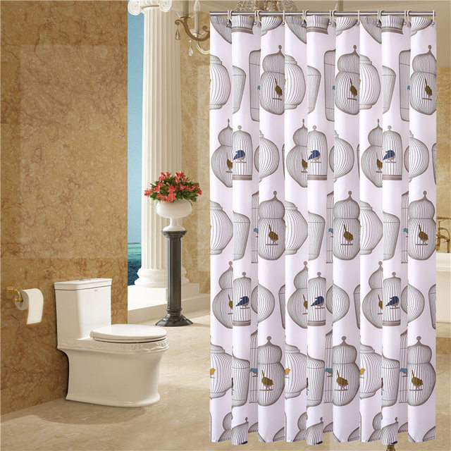 Birdcage European Curtain Pattern Bath Screens Polyester Waterproof Shower YouTube Recommend Curtains In The Bathroom